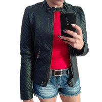 2015 New Ladies Leather Jacket Fashion Elegant Vintage Black PU Slim Female Autumn Winter Jacket Brand Designer Leather Coats