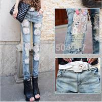 European Women's jeans Lace Spliced Advanced With Diamond Fashion Lightweight Summer Women true brand jeans Free shipping