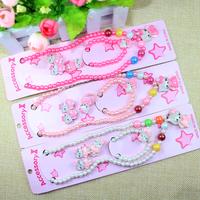 Cute pearl kids hello kitty jewelry set gitf children hair accessories set Pearl Necklace Clasp Bracelet Earrings Ear Ring Sets