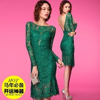 Short 2014 mermaid lace women evening dress backless gown party prom formal elegant Green Black vestidos de festa robe de soiree
