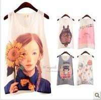 2014 New Style Round Neck Cartoon Print Sleeveless T-Shirt Tank for Summer Chiffon Tee Tops