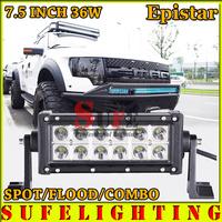 FREE SHIPPING 7.5 INCH 36W LED LIGHT BAR OFFROAD TRUCK 4X4 LED DRIVING LIGHT BAR WORKING LIGHT BAR CAR HEAD LIGHT 72W/54W