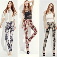Korean Woman Pants Print Casual Pencil Pants Slim Floral Womens Printed Trousers 2014 High Waist Skinny Jeans Tight Plus Size