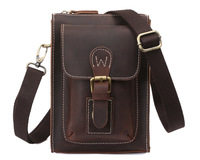 Cowhide leather men small messenger bag fashion sport waist pack Multifunctional vintage style NEW TIDING 31052