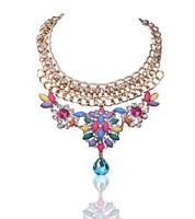 NEW 2014 women fashion collar bubble bib rainbow shourouk necklaces & pendants choker statement necklace for women Jewelry