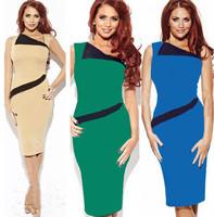 Slim! 2014 Summer Women's Fashion Elegant Cotton Plus Size XL Bandage dress Ladies' Slim pencil sleeveless 4 colors dress NEW