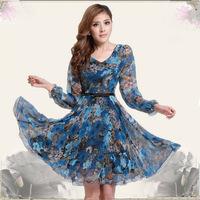 2014 New Blue Middle-Age Women Chiffon Dresses Floral Print Long Sleeve Dress