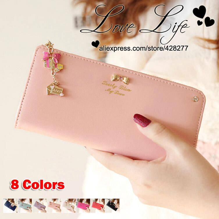 New 2014 High-quality Colorful bowknot pendant PU Leather Long Design Women Wallet Purse Handbag - Free Shipping - W005(China (Mainland))