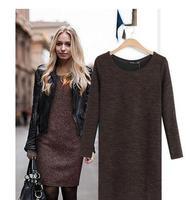 new spring 2014 girl Long Sleeve casual dress women clothing bandage dress Slim Sexy women winter sweater dress       #C0556