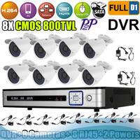 Big Promotion!  8CH  Real time Full D1 network CCTV DVR Kit 8 pcs 800 TVL Outdoor Day Night Camera Surveillance System
