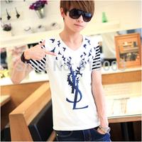 2014 summer new arrival men's fashion cotton V-neck short-sleeved tops & tees, men casual brand LOGO t shirt,free shipping.TB-29