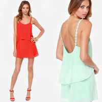 FanShou Free Shipping New 2014 Women Spring Summer Fashion Dress Sexy Backless Spaghetti Strap Chiffon Mini Dresses XXL 6176