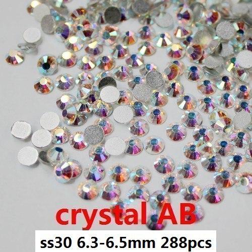 rhinestone applique free shipping rhinestones for nails288pcs ss30 6.3-6.5mm crystal ab flat back non hotfix glue onrhinestones(China (Mainland))