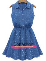 New 2014 Free Shipping Women's Clothing Work High Street Fashion Vestidos Casual Blue Lapel Sleeveless Stars Print Pleated Dress