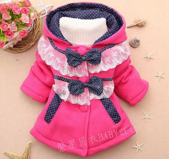 Retail 1 Pcs Children Outerwear Winter Spring New 2014 Baby Girl Jacket Girls Jackets And Coats Dot Bow Hooded CCC275-2(China (Mainland))