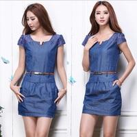 Hot Sale  2014 New Fashion Brand Women Summer Jeans Lace Dress Girl Casual Denim Dress Vestidos Plus Size Free Shipping
