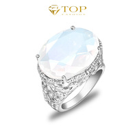 new 2014 moon stone vintage aneis femininas brand rings for women engagement wedding jewelry 925 sterling silver plated