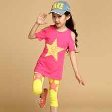 2014 summer kids children clothes slim fit star Strapless mixed color 3 color sets for 4 5 6 7 8 9 10 11 12 13 14 years old girl(China (Mainland))