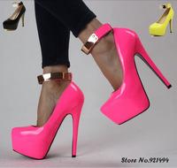 New 2014 Plus Size 41 10 11 15cm Sexy Neon Yellow Pink Metal Belt Women High Heels Shoes Women Black Platform Pumps Wholesale