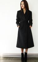 Brand UK 2014 Latest Designer Women Winter Coat Red Black Slim Fit Woolen X-long Trench Coat  Female Casual Outerwear Casacos