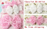 2 Colors 12pcs Childrens pink lace hairband Toddler girls headwear Felt Flower headbands Baby Infant flower headbands FD120