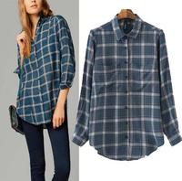 New 2014 Autumn Fashion Ladies' Vintage Plaid Print Long Sleeve Work Shirt Elegant Women OL Blouse Casual Brand Designer Tops