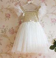 Girl Party Dress Sequins Gauze New 2014 Summer Children Dresses, Girls Princess Beige Lace party tutu Dress 5pcs/lot