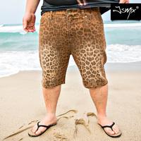 free shipping  2014 new summer Fat tide men's plus size elastic denim jeans shorts leopard print knee-length pants L-XXXXXL