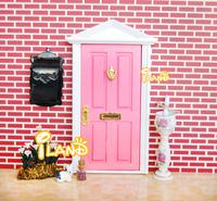 1:12 Dolls Miniature  Wood Painted Lovely Fairy Door W/ Light pink Metal Accessories