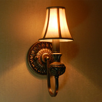 Wall lamp vintage carved fabric Aluminum up & down E14 Bedroom bedside wall lights indoor stair lighting Free shipping