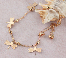 Hot Sell Foot Jewelry Fashion Women 18k Gold Plated Decorate Beads Beautiful Dragonfly Anklet Jewelry Bracelet