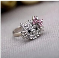 fashion delicate silver plated pink bow hello kitty cat finger rings adjustable high quality
