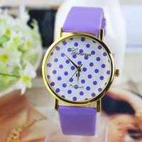 10 colors New Fashion GENEVA Women Leather Strap Watches Dot Dress Watch electronic quartz watch