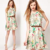 2014 New Summer Women Chiffon Dress Floral Print Sleeveless Mini Tank Dress Plus Size