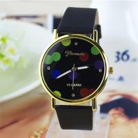 7 colors New Arrive Fashion Women Leather Strap classics Watch, Color dots dial wrist quartz watch dress watch