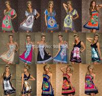 Hot Sale Brand 16 Design Sexy Sundress Women Floral Pattern Printed Vintage Summer Dress Bohemian Paisley Totem Beach Dress