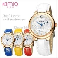 Brand Kimio 2014 Ladies Ceramic Luxury Bracelet Watch Leather strap Fashion Quartz Analog Watches Free shipping KW526M