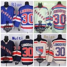 2014 Stanley Cup New York Rangers Hockey Jerseys #30 Henrik Lundqvist Jersey Royal Blue White Navy Cream Black Stitched Jerseys(China (Mainland))