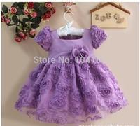 Retail 1size/1lot New Year Girl's Dresses Purple Flower Child Party Princess Dress Wholesale Children Clothing