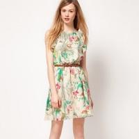 Hot Sale 2014 New Fashion Women Casual Dress Girl Cute Chiffon Print Dress Femininos Vestidos Free Shipping