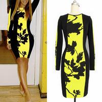 2014 New Fashion Women Tank Dress Floral Print Mini Celebrity Style Bodycon Party Dress Yellow