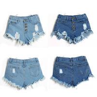 Resuli 2014 New Hot Sale Summer Women Vintage High Waist Jeans Hole Short Jeans Denim Shorts Free Shipping & Wholesale