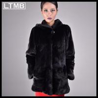 LTMB469  High quality genuine mink fur coat medium length with hood winter full sleeve fur coat for fashion women