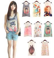 2014 Women Chiffon Sleeveless Blouse Shirt Sunflower Girl Ice-cream Cone Totoro Cartoon House Print T-shirt FE3058#S5