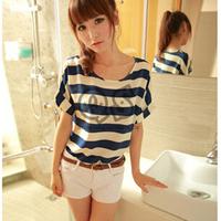 2014 Fashion Women Summer Blouses Women Casual Loose Cheap Strip/Lips/Floral Short Sleeve Chiffon blouse Strip O-Neck Shirt