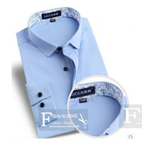 Print Business Shirt Casual Male Long-sleeve Slim Fit Korean Design Unique Neckline Stylish Casual Men's Dress Shirts