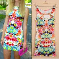2014 Spring/Summer Retro Sexy Women Dresses Flower Print Sleeveless Slim Mini Dress