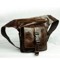 2014 New Vintage Retro Casual Oil Wax Leather Genuine Leather Cowhide Men Waist Bag Waist Pack Packs Bags For Men Y822