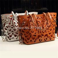 3 in 1 Vintage Hollow Out Women Composite Bag Fashionable Shoulder Tote Handbag Black Brown White Gold Silver A14880
