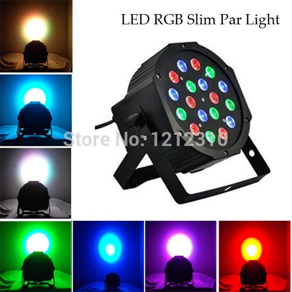 Nouveau 2014 4pcs/lot! 18*3w led haute puissance lumière de la scène par la lumière rgb led master slave avec dmx512 plat. Équipements contrôleur dj